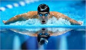 Phelps swimming the butterfly.