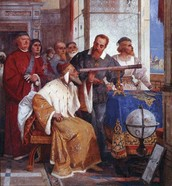 Galileo showing the doge of Venice how to use a telescope