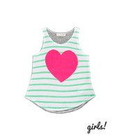 Bright Hot Pink Heart Hi-Hem Tank Top