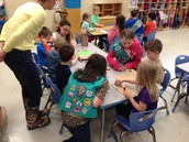 Craft time with the girl scouts