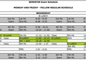 Semester Exam Schedule - Wednesday