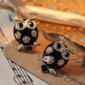 owl earring with diamond