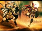 escena de la batalla entre Aquiles y Eneas
