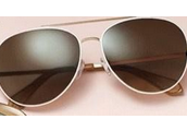 Chevron Aviator Sunglasses - White - $50