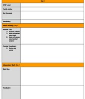 Non-fiction Guided Reading planning template