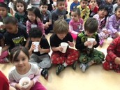 AM Class drinking hot chocolate