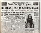 Newspaper describing the Stock Market Crash of the Great Depression.