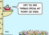 The point of view and perspective.