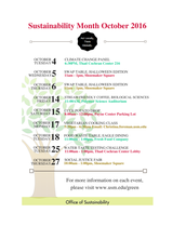 Event Schedule for Campus Sustainability Month