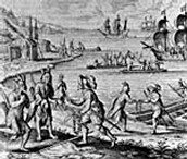 Painting Beothuk and Europeans