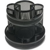 Business Source 62886 Rotary Organizer, Mesh, 6-5/8 in.x6-5/8 in.x6-5/8 in., Black