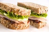 Turkey Sandwich with Lettuce on Whole Wheat