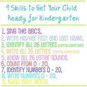 Skills for Kindergarten!