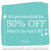 50% off personalization until 4/30!