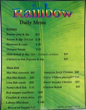 Here is the menu for Rainbow Beach