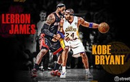 Lebron james an Kobe Bryant going against each other.