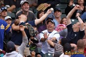 Getting the chance to catch a foul ball.