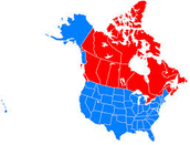 Map of the U.S. and Canada