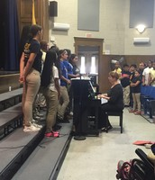 The Choir singing at the 5th grade Honor Roll and Principal's list Assembly