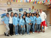 Blair with his Filipino helpers on International Day