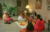 hinduisum people about to meditate and then eat