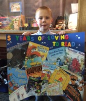 """Jacob and his """"5 Years of Loving to Read"""" Poster"""