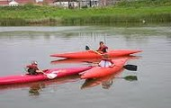 Our young children canoeing