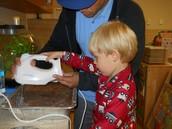 Making chocolate pudding