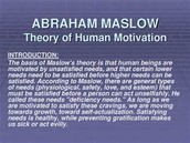 Maslow's Theory Introduction