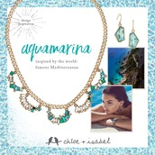 Aquamarina  collar necklace and drop earrings