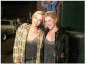 Charlize Theron and her stunt double.
