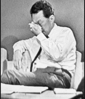 An emotional scene at the press conference in 1965