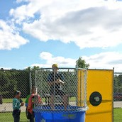 Mr. Budisch in the dunk tank