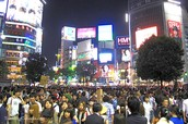 A busy street in Japan