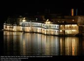 Floating Lake Palace at night