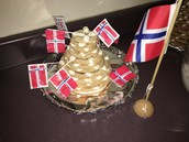 The flag of Norway with our kransekake.