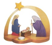 Nativity Scene w candle