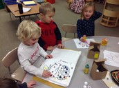 Painting and reading our turkey book.