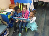 Reading with our first grade buddies in Ms. Leanna's class