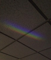 We created a rainbow! It's refraction.