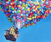 The mitochondria is like the wind because the wind powers the balloons to move the house.