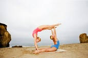 Partners Doing Gymnastics