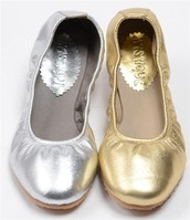 silver and gold ballerina flats