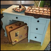 $265 - Pretty Light Blue Chalk Painted Desk