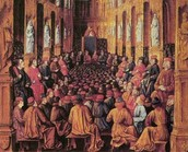 ציור המתאר את ועידת הכנסייה הנוצרית בקלרמון שבה הכריז אורבנוס ה-2 על היציאה למסע הצלב הראשון