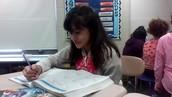 Alyssa working hard on fractions