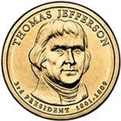 Thomas Jefferson coin is worth 1 dollar.
