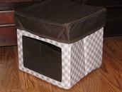 Your Way Junior Cube - Taupe Gingham & Your Way Junior Cube Lid - Brown