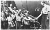 Immigrants waiting to aboard train