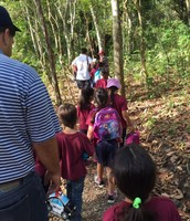 First graders hiking on their field trip.